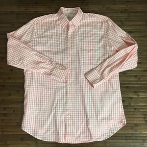 Men's Peter Millar Pink Check Button Down Oxford